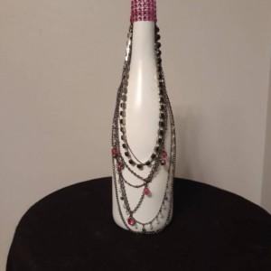 Upcycled Wine Bottle/Upcycle/Fany Bottle/Upcycled Wine/Upcycled Wine Bottle/Wine Bottle/Centerpiece/Wine/Wine Decor/Mantle/Vase/Bottle