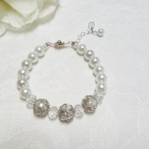 White Pearl Wedding bracelet