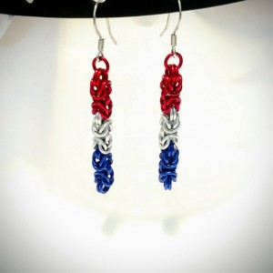 Red white and blue dangle earrings byzantine chainmaille