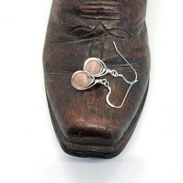 Wire Wrapped Sunstone in .925 Sterling Silver Earrings