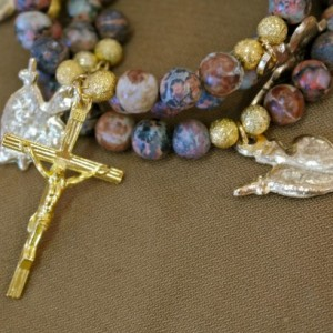 Rosary of the Seven Sorrows Bracelet of Leopard Skin Jasper