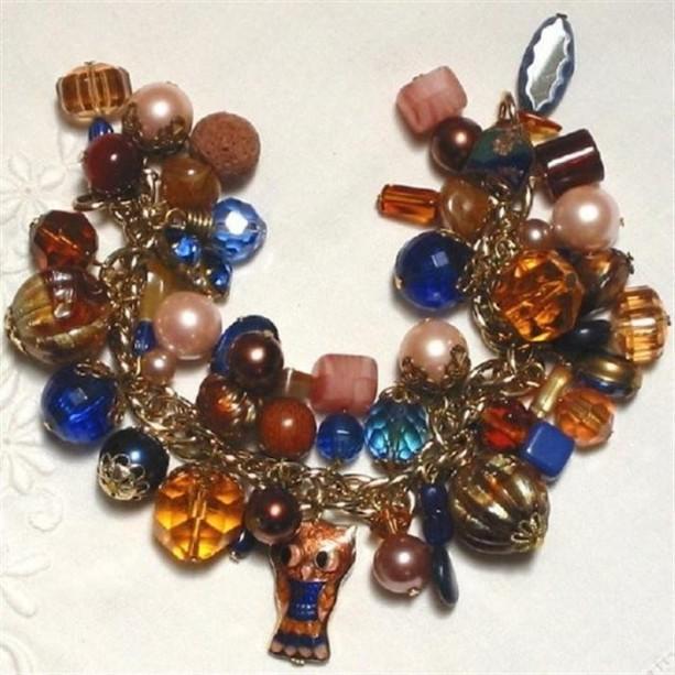OOAK Indie Vintage Chunky Loaded Charm Bracelet