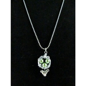 Mama Bird Nest with Green Pearl Egg Pendant Necklace