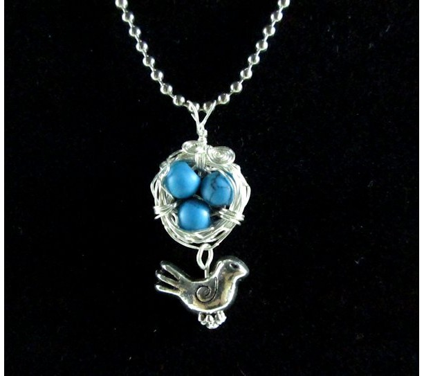 Mama Bird Nest with Blue Turquoise Egg Pendant Necklace