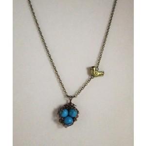 Bird Nest with Blue Turquoise Egg Pendant Necklace