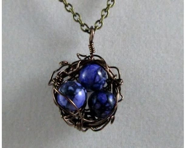 Mama Bird Nest with Marbled Purple Stone Egg Pendant Necklace