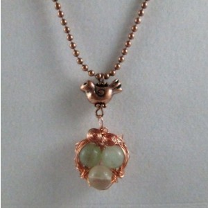 Mama Bird Nest with Pale Green Gemstone Egg Pendant Necklace