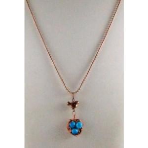 Mama Bird Nest with Sky Blue Gemstone Egg Pendant Necklace
