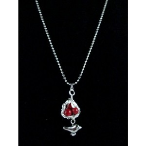 Mama Bird Nest with Red Coral Bead Egg Pendant Necklace
