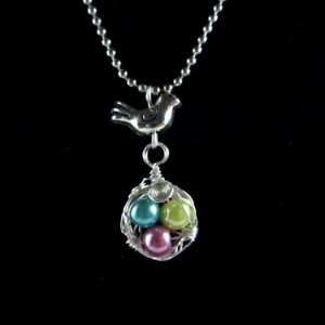 Mama Bird Nest with Colorful Pearl Egg Pendant Necklace