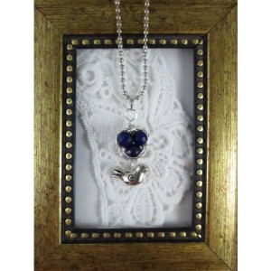 Mama Bird Nest with Blue Lapis Lazuli Egg Pendant Necklace