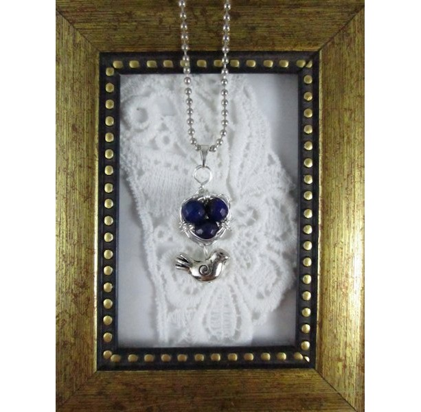 Mama Bird Nest with Blue Lapis Lazuli Egg Pendant Necklace