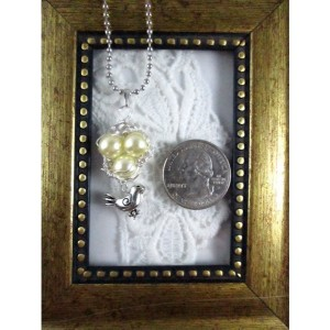 Mama Bird Nest with Peal Egg Pendant Necklace