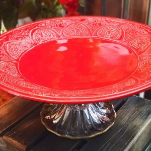 Festive Red and Gold Pedestal Serving Plate/Cake Stand