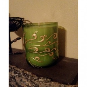 Hand painted recycled wine bottle scented candle