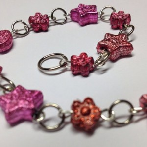 Sparkle Stars and Flowers Red and Pink Bracelet