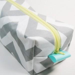 Boxy Makeup Bag - Medium - Gray Chevron with Yellow Cosmetic Case