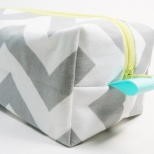 Boxy Makeup Bag - Medium - Gray Chevron with Yellow Cosmetic Case