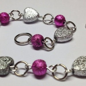 Sparkle Hearts Pink and Silver Bracelet