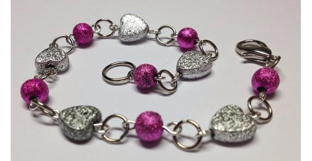 Sparkle Hearts Pink and Silver Bracelet
