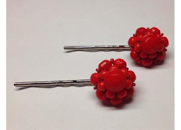 Set of Ruby Red Flower Hair Pins