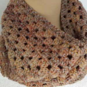 Infinity Cowl Scarf - Chunky Scarf, Crochet Scarf, Brown Scarf, Winter Scarf, Unisex Neckwarmer Scarf