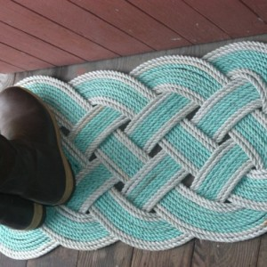 """As Seen on HGTV Magazine Eco-Friendly Green & Silver Rope Rug 36"""" x 15"""" Recycled Rope Unique Gift Doormat"""