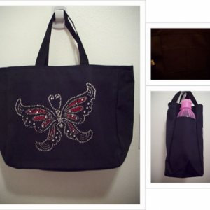 Rhinestone Butterfly Tote Bag with Pockets