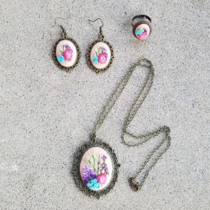 Embroidered  jewelry in pastels
