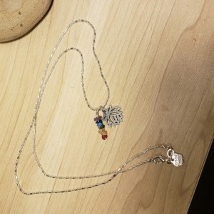 Lotus Charm Necklace with 7 the Chakra Rainbow Crystals