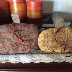 2 Decorative Embroidered Rustic Pumpkins