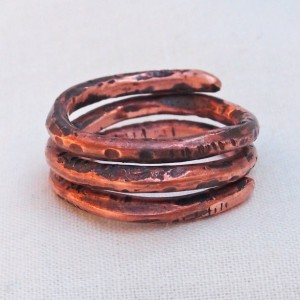 Copper Spiral Coil Ring Size 7 'C' Hand Forged