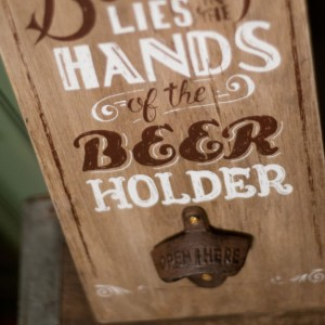 Wall Mounted Beer Bottle Opener - Beauty Lies in the Hands of the Beer Holder (Brown)