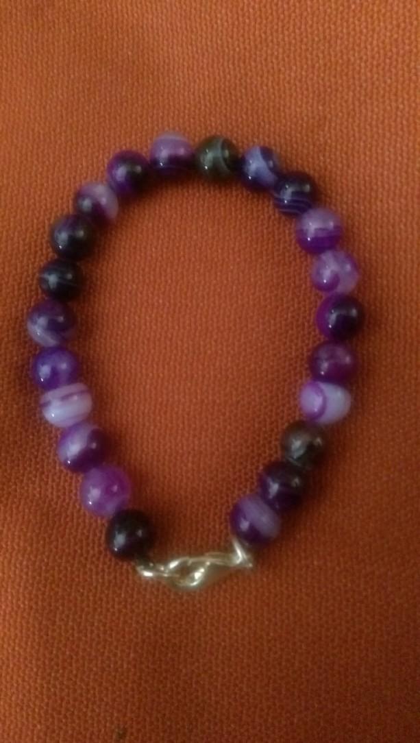 Striped purple Agate bracelet