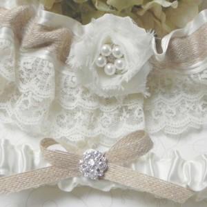 Rustic Ivory Satin & Lace Burlap Garter Set