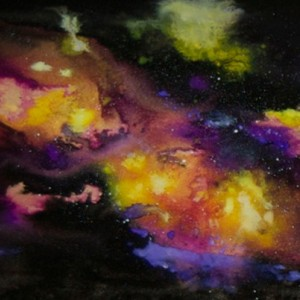 Nebula Space Wall Art Resin Painting on Wood