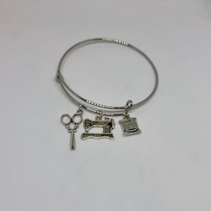 Sewing Machine Thread and Scissors Bangle Charm Bracelet - Vintage Singer