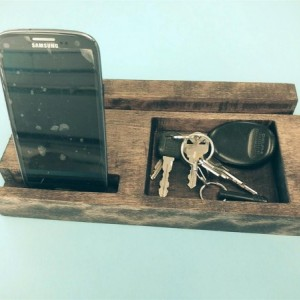 Wood charging station for smart phone and tablet