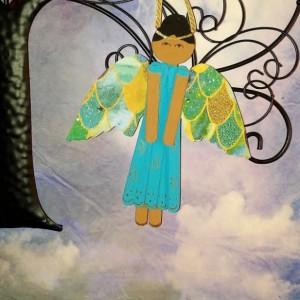 Ethnic Wood Angel Art / Religious Gift for Mom / Personalized Gift / Wood Friendship Gift / Wood Angel Ornament / Bridesmaid Gift
