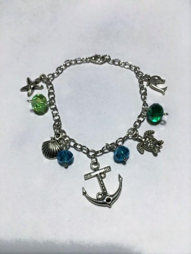 Charm Bangle Bracelet, Ocean Themed