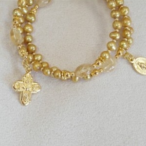 Rosary Bracelet of Gold Freshwater Pearls, Gold Plated Findings