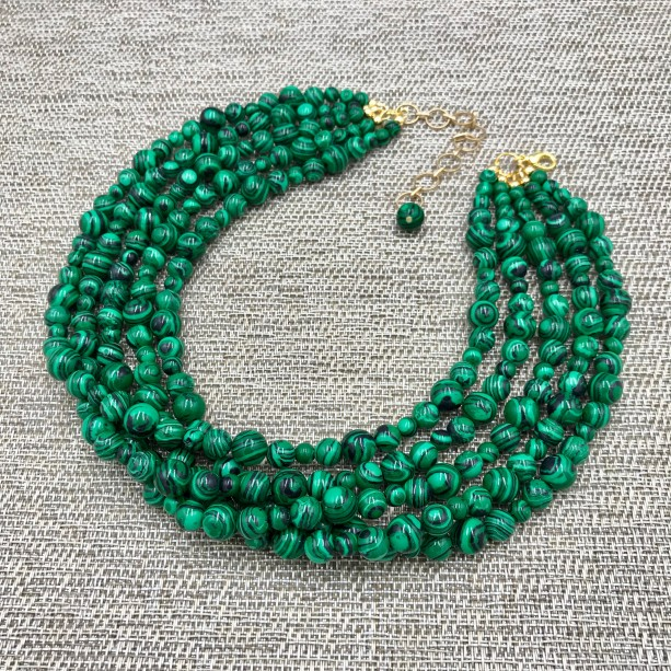 "Chunky Green Malachite Necklace - 16"", Green Necklace, Green Beaded Necklace, Multi Strand Green Statement Necklace, Turquoise Jewelry Necklace"