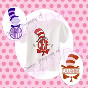 Custom Dr Seuss frame inspired monogram shirt