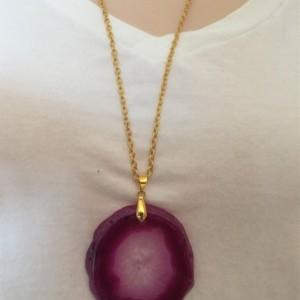 Vibrant Magenta Geode Slice Necklace, Agate Slice Necklace