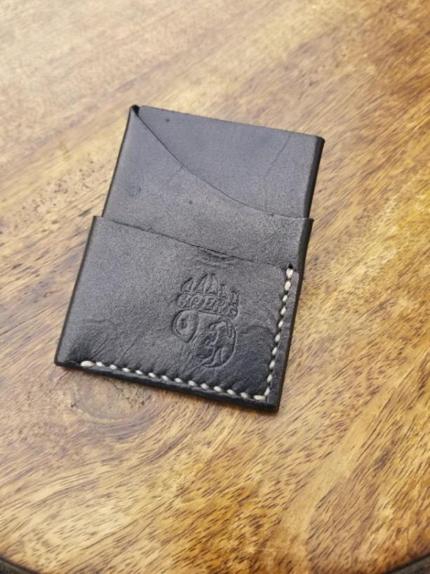 Leather Card Wallet Black with cream colored thread.
