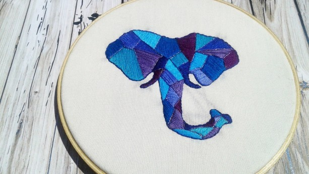 Geometric Elephant Hand Embroidery Hoop- Wall Art (6 inch) *Only One Available!*