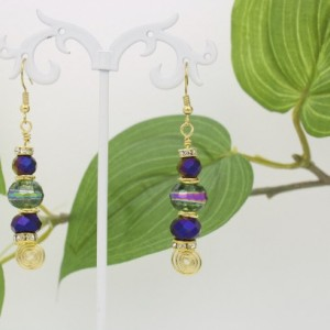 Disco Glass Earrings, Purple Earrings, Multi Color Beads, Gold Color Tarnish Free Wire
