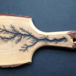 Custom live edge cutting board with fractal Burns