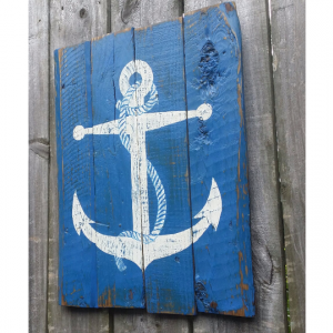 Hand Painted Distressed Reclaimed Wooden Anchor Sign