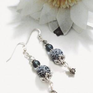 Gray Agate Earrings Matte Agate Beads, Unique Gemstone Earrings, Everyday Wear, Mothers Day Gift, Earrings Handmade, Jewelry on Sale, Gift